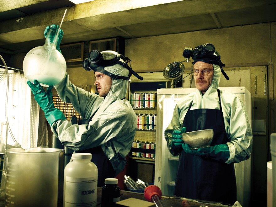 Jesse Pinkman (Aaron Paul) and Walter White (Bryan Cranston) form an unlikely partnership in <em>Breaking Bad</em>.