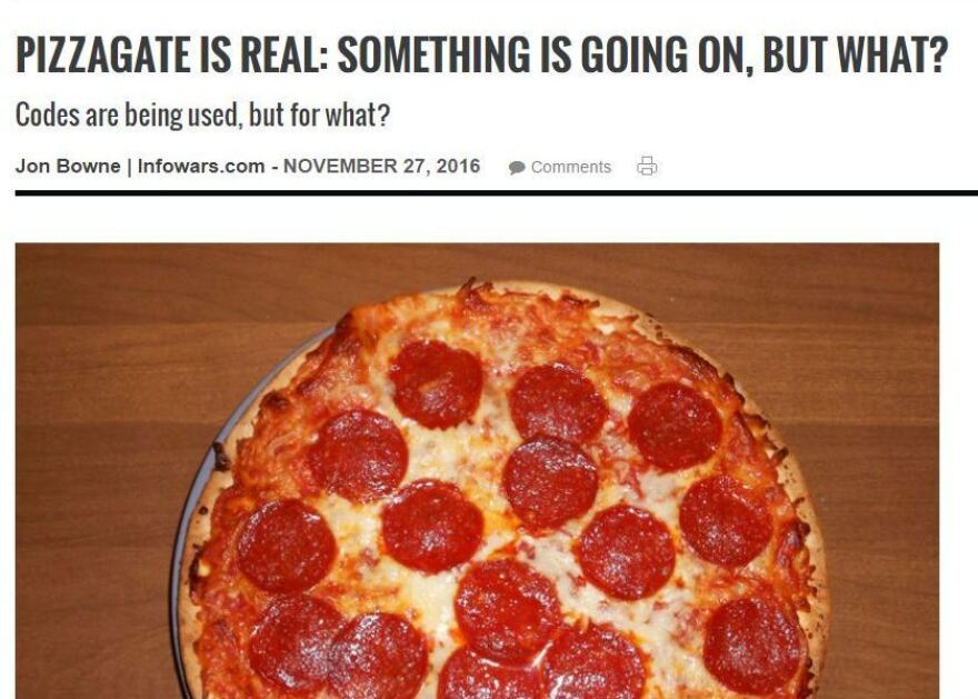 A screenshot of the since-removed page advancing misleading information about a Washington, D.C., pizzeria.