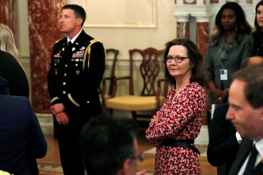 CIA director nominee Gina Haspel attends Secretary of State Mike Pompeo's ceremonial swearing-in at the State Department in Washington last week.