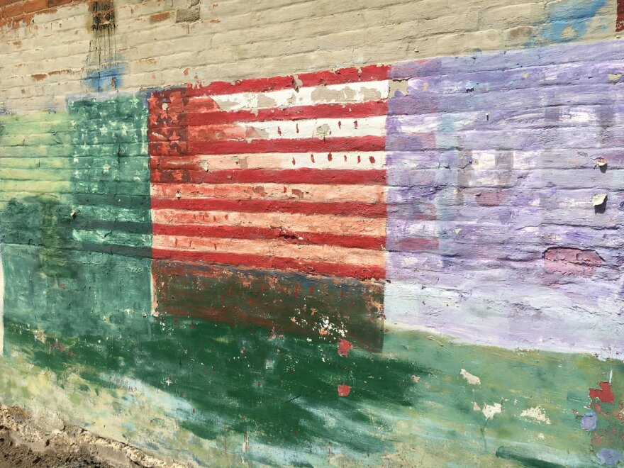 A mural adorns the wall of a building in Frankford, Missouri, which has a population of a little over 300 people.