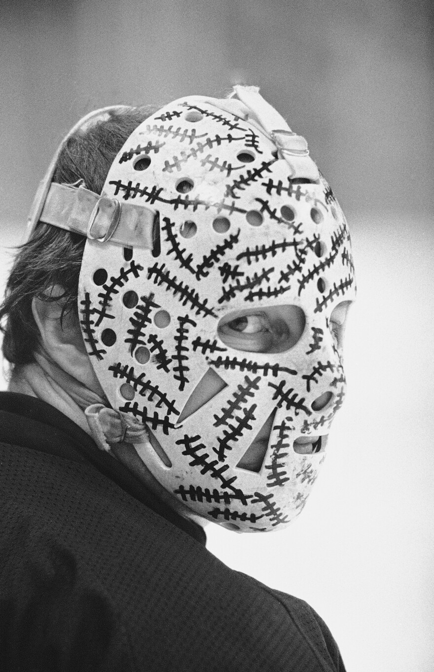 Gerry Cheevers, who won two Stanley Cups with the Bruins and later was inducted to the Hockey Hall of Fame, sports his iconic mask during a 1978 practice. He'd draw new sets of stitches on that white bit of headgear every time he took a shot to the face. The way he saw it, he would have had to get those stitches for real if he hadn't been wearing that mask.