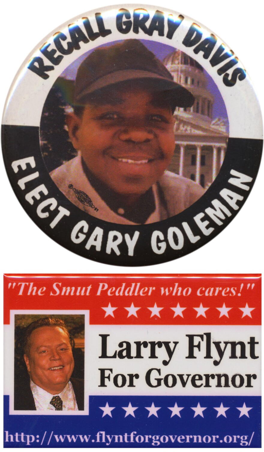 One thing so memorable about the 2003 California recall election was the fine caliber of potential governors on the ballot.  (And so what if this button misspelled Gary Coleman's name?)