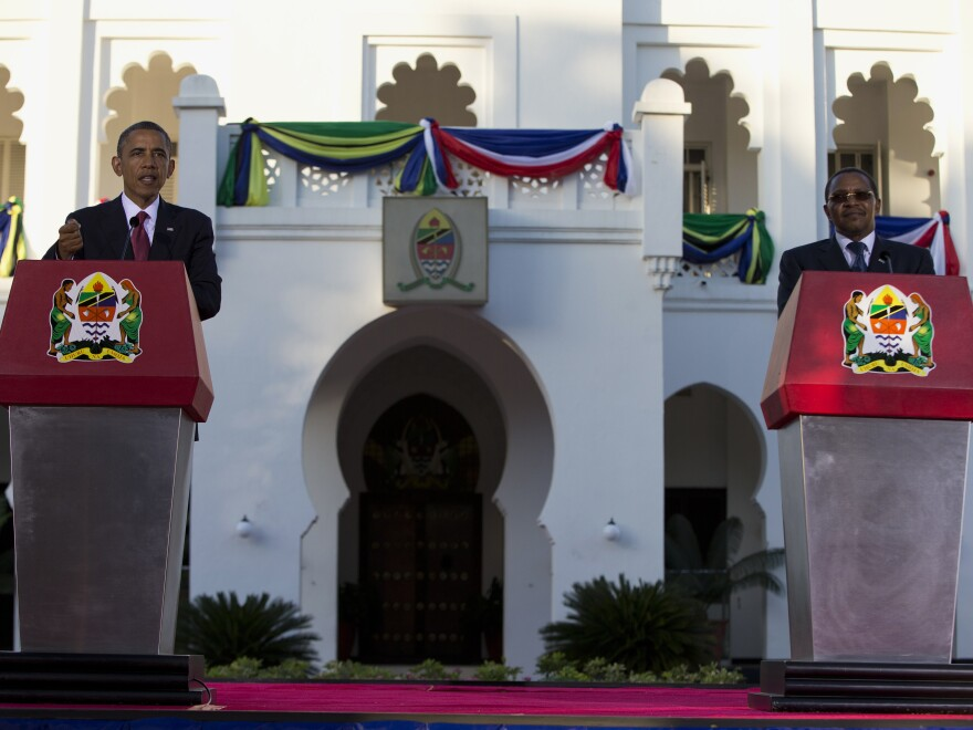President Obama and Tanzanian President Jakaya Kikwete take questions at a joint news conference Monday in Dar es Salaam, Tanzania.