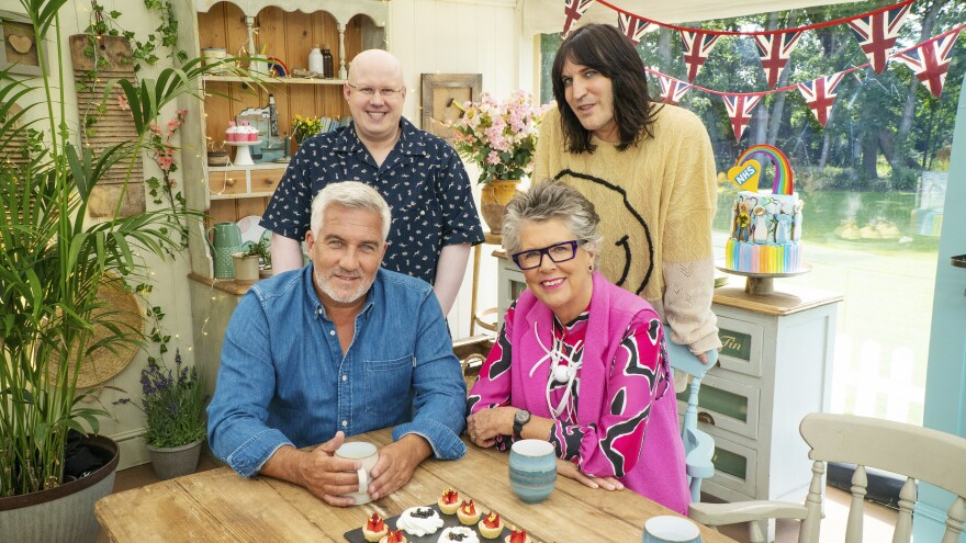 Comedian Matt Lucas — top left — joins cohost Noel Fielding and judges Paul Hollywood and Prue Leith in the tent for the new series of <em>The Great British Baking Show</em> (as it's known in the U.S.)