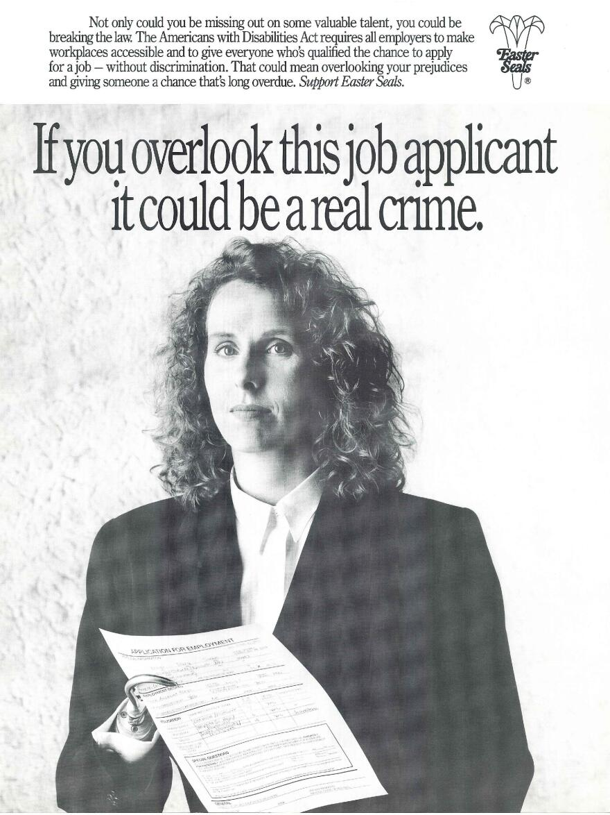 A poster reminds employers to set aside their prejudices against disabled job applicants.