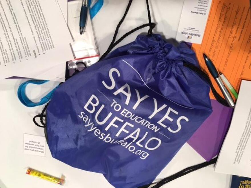 A photo of a drawstring bag marked with Say Yes Buffalo