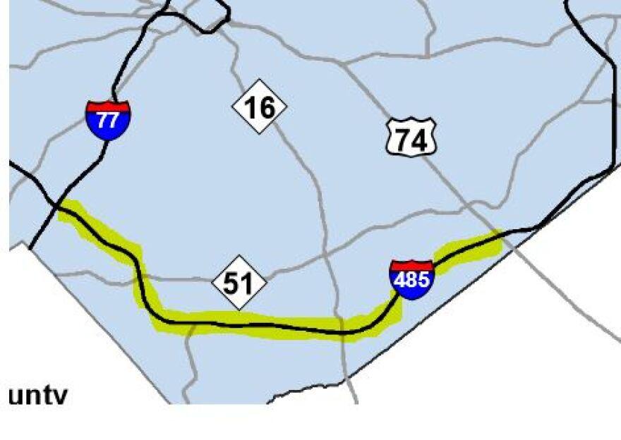 I-485 Toll Lane Map