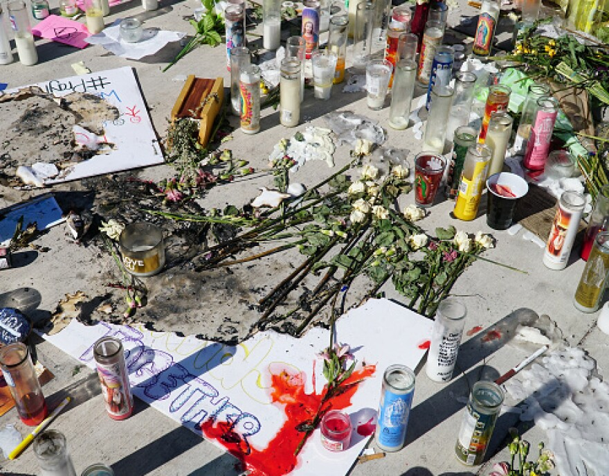 A memorial had been set up for the victims of the Las Vegas mass shooting, which left 58 people dead and nearly 500 injured.