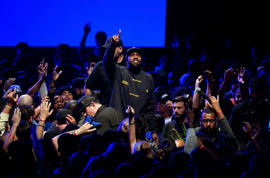 """Kanye West performs onstage during his """"Jesus Is King"""" album and film experience at The Forum on October 23, 2019 in Inglewood, Calif. (Kevin Winter/Getty Images for ABA)"""
