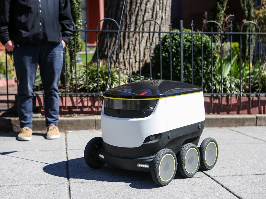 Starship Technologies' delivery robots, which can be found traveling the sidewalks of Washington, D.C., get smarter the more they drive — learning about sidewalk and traffic patterns with every trip they take.