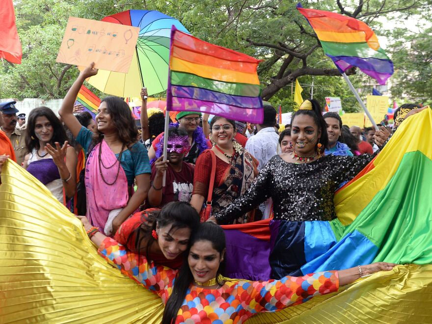 Supporters of the LGBTQ community take part in a pride parade in Chennai, India, on June 24.