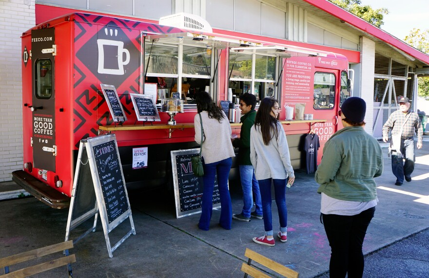 Refuge Coffee is a nonprofit gourmet food truck that employees refugees resettled in Clarkston, Ga., and provides job training and networking opportunities within the community.