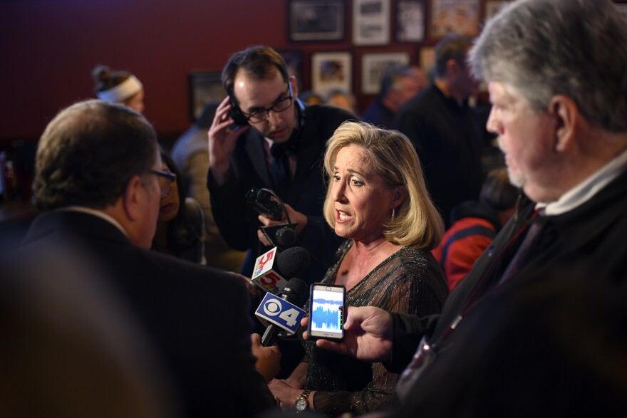 Congresswoman Ann Wagner talks to reporters before she prevailed in the 2nd District Congressional contest against Democrat Cort VanOstran.