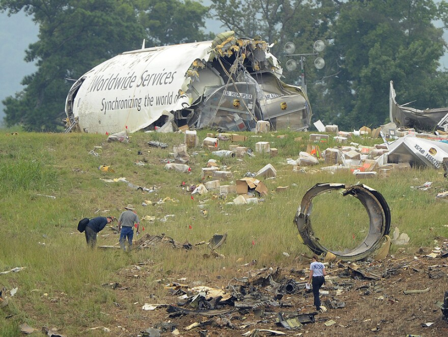 A field north of the Birmingham-Shuttlesworth International Airport where UPS flight 1354 crashed on August 16, 2013.