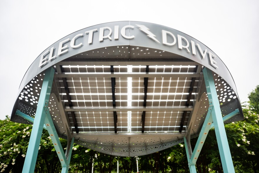 Electric Drive in downtown Austin has DC fast-charging stations where people can charge their electric vehicles.