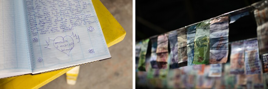 Handwritten letters in notebooks and bolívar bills from Venezuelan migrants decorate Alarcón's roadside stand.