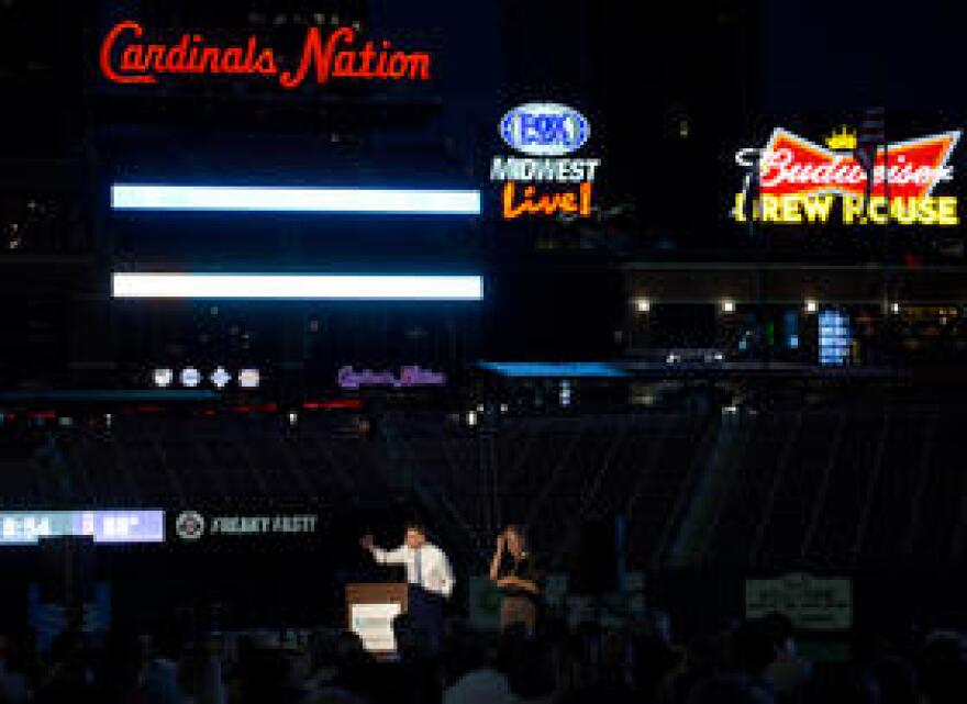 Jason Kander speaks at the Missouri Democratic Party's annual dinner, the Truman Dinner, at Busch Stadium earlier this year.