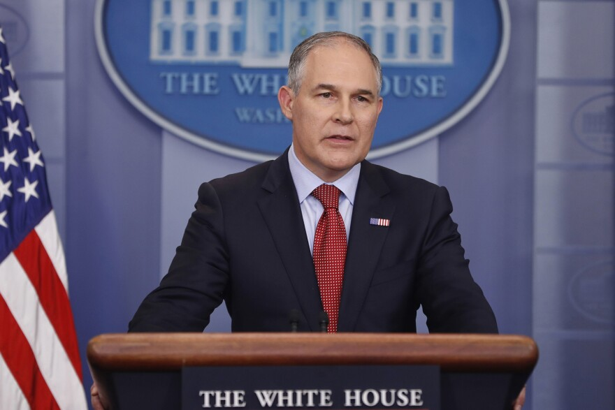 In this June 2, 2017, file photo, EPA Administrator Scott Pruitt speaks to the media during the daily briefing in the Brady Press Briefing Room of the White House in Washington. (Pablo Martinez Monsivais/AP)