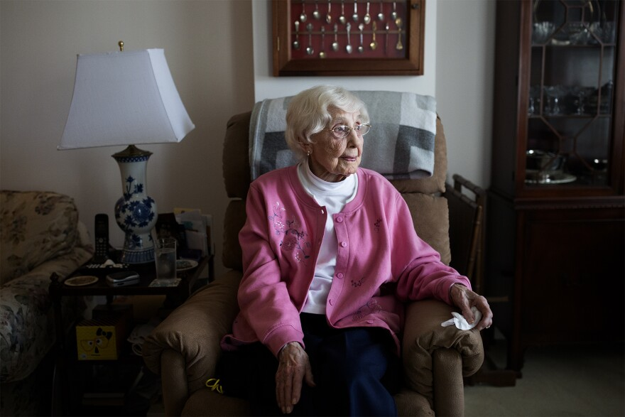 Dorothy Hunter, 109, sits in her apartment at an assisted living facility in Ballwin. Hunter, a retired teacher, has lived in St. Louis her whole life.