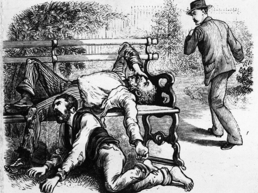 "Engraving from a series of images titled ""The Great Yellow Fever Scourge — Incidents Of Its Horrors In The Most Fatal District Of The Southern States."""