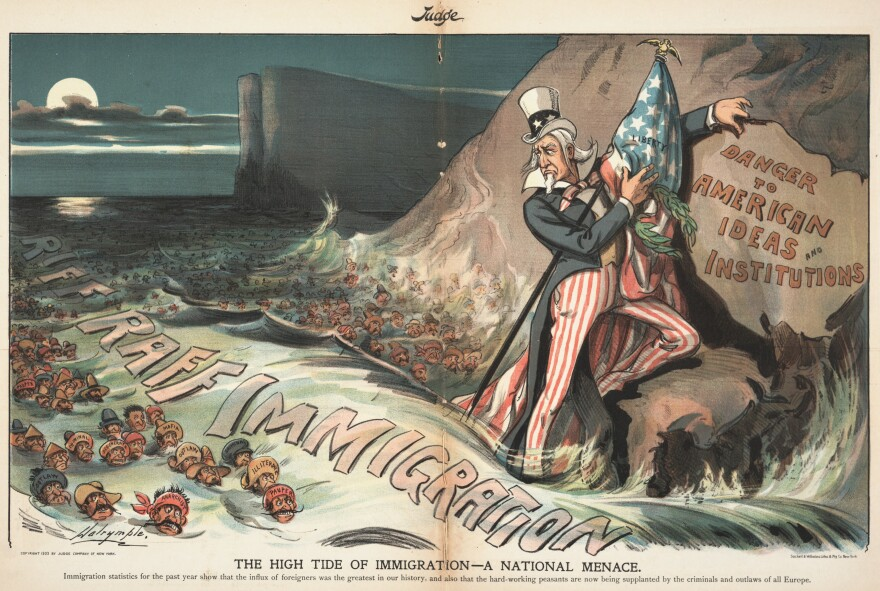 """A cartoon published in <em>Judge magazine </em>in 1903 is titled """"The High Tide of Immigration — A National Menace,"""" with the caption: """"Immigration statistics for the past year show that the influx of foreigners was the greatest in our history, and also that the hard-working peasants are now being supplanted by the criminals and outlaws of all Europe."""""""
