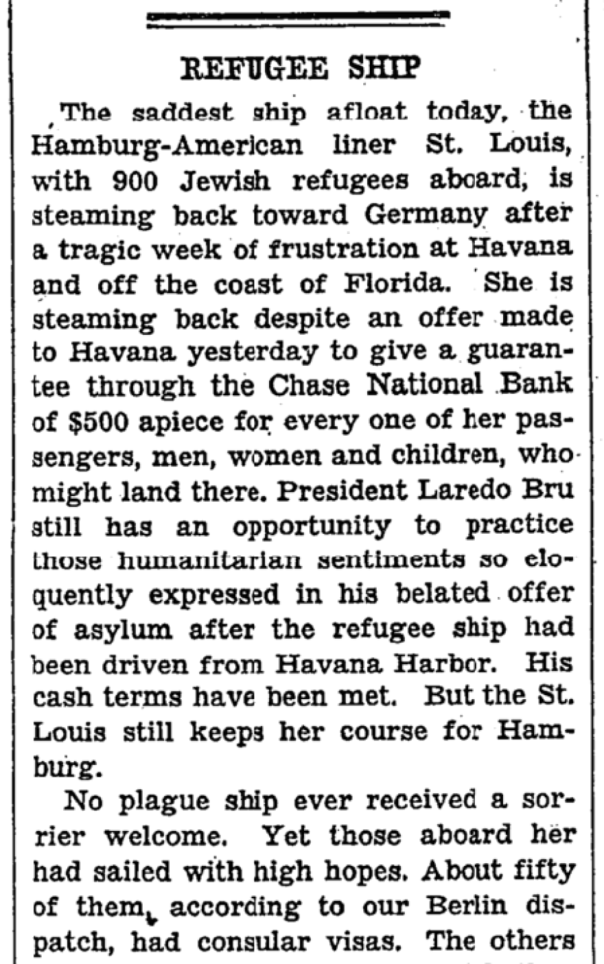 An archival story from the New York Times, dated June 8, 1939.
