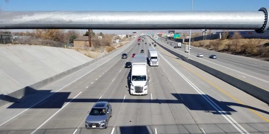 Cars and semis on Utah's I-15.