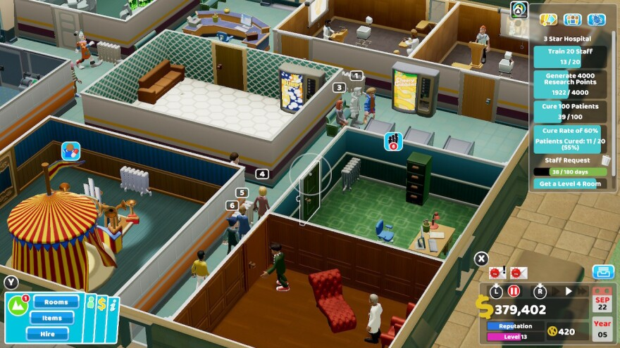 In this shot of my hospital, you can see the clown treatment room, a couple of training rooms, a psychiatrist's office, and some vending machines, among other things.