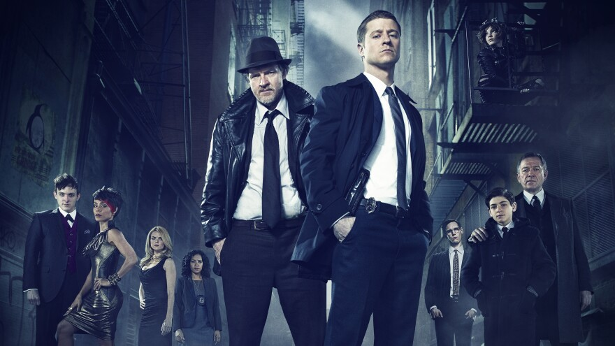 Ben McKenzie (front right) and Donal Logue (left) lead the cast of Fox's <em>Batman</em> prequel <em>Gotham</em>.