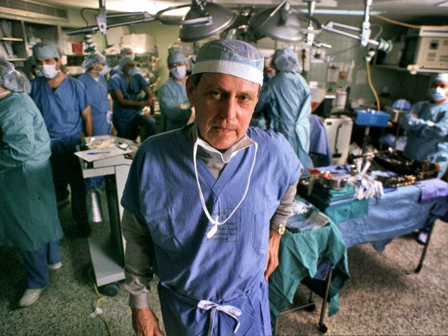 In this 1989 photograph, Thomas Starzl oversees a liver transplant operation at the University of Pittsburgh Medical Center. Starzl won a National Medal of Science in 2004.