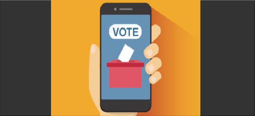 Graphic illustration of a hand holding a smartphone showing a voting application