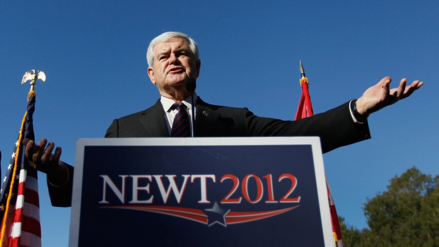 Republican presidential candidate Newt Gingrich speaks Thursday during a Lakeside Inn Tea Party rally in Mount Dora, Fla.