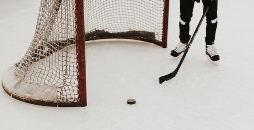 hockey net puck and stick on ice