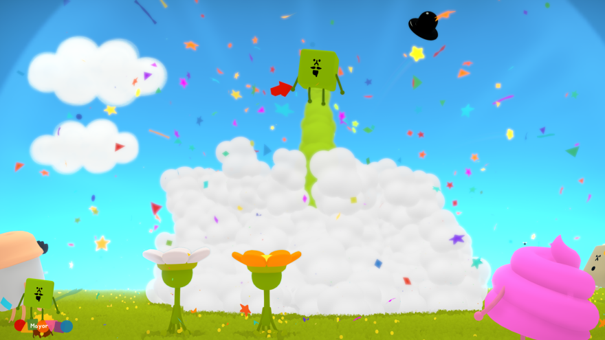 "<em></em>The Mayor, a green cube with a top hat, goes ""kaboom"" in <em>Wattam. </em>"