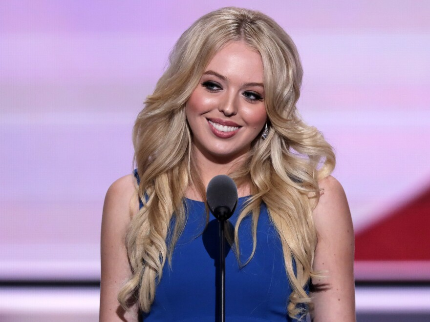 Tiffany Trump, daughter of Republican presidential candidate Donald Trump, speaks during the Republican National Convention in Cleveland on Tuesday.