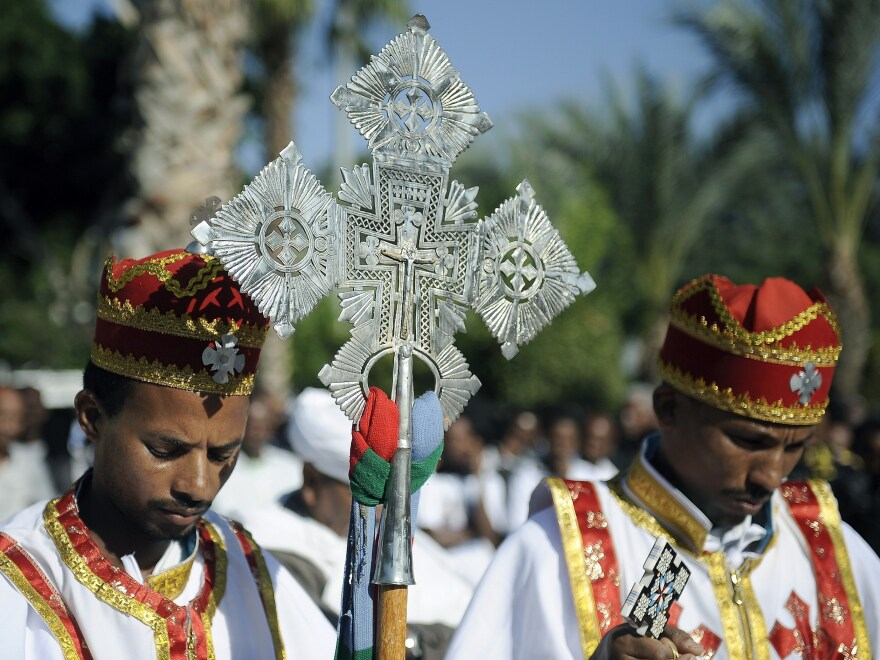 Eritrean Christians lead a memorial service in Tel Aviv in October in honor of victims of the Lampedusa, an immigrant boat shipwrecked off Italy in October. The number of Christians in Israel is rising, in part because of migrants from Africa and Asia.