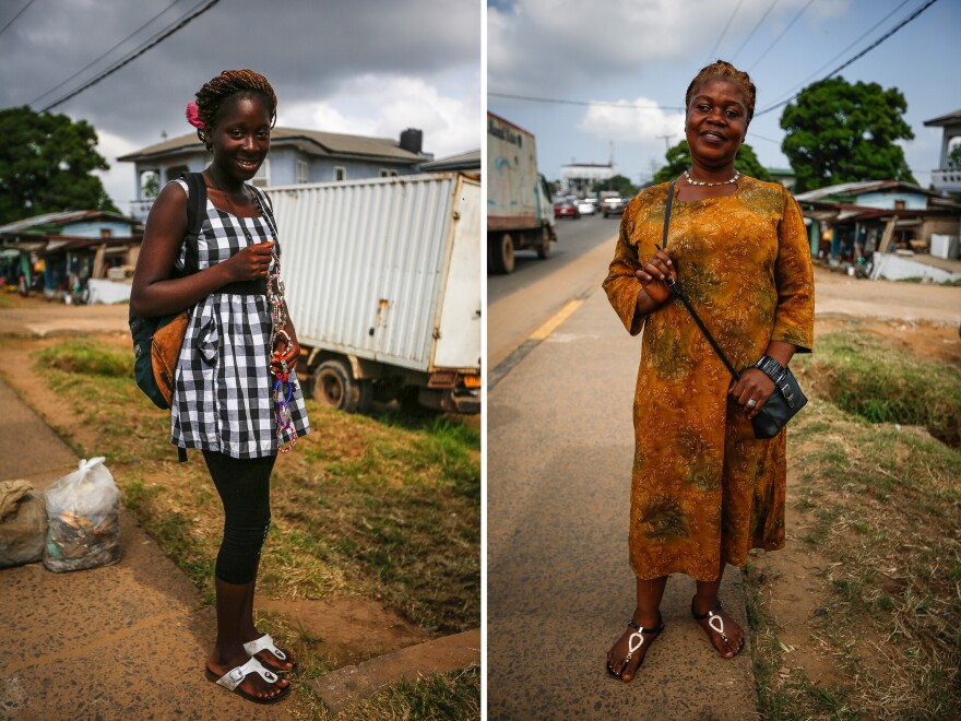 """Caroline Abang, 16, (left) is selling """"bangles"""" because schools are closed in Liberia. She hopes to become be an engineer. Right: """"When you're not dressed, nobody can recognize you,"""" says teacher Demah Bee. """"They will say you're suffering too much."""""""