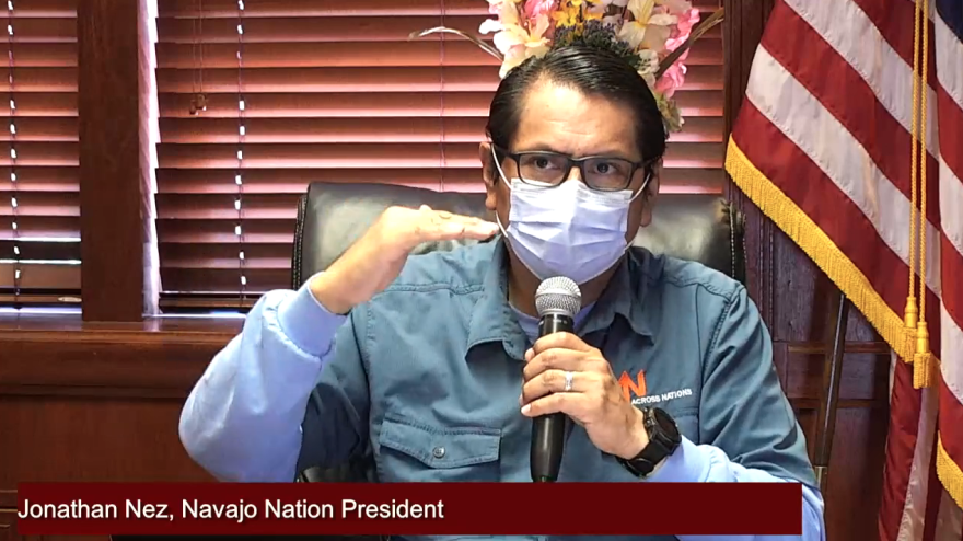 Navajo Nation President Jonathan Nez speaking during a virtual town hall on Tuesday.