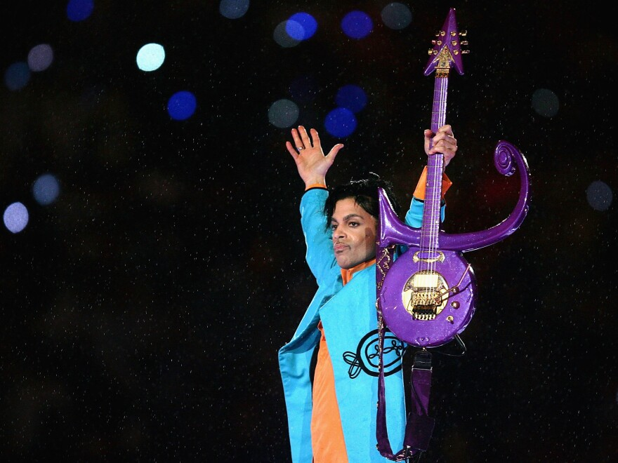 Prince performs during the 2007 Super Bowl halftime show in Miami, Fla.