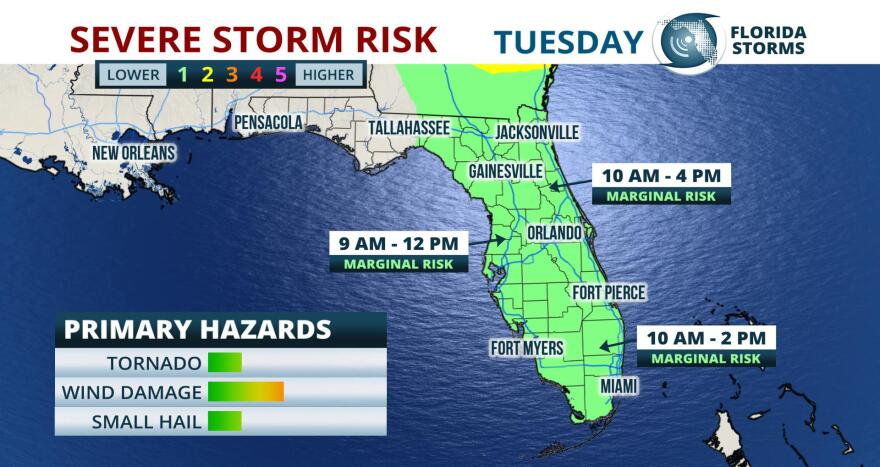 Thunderstorms capable of producing minor wind damage, or even an isolated tornado, are possible across the Florida peninsula today.