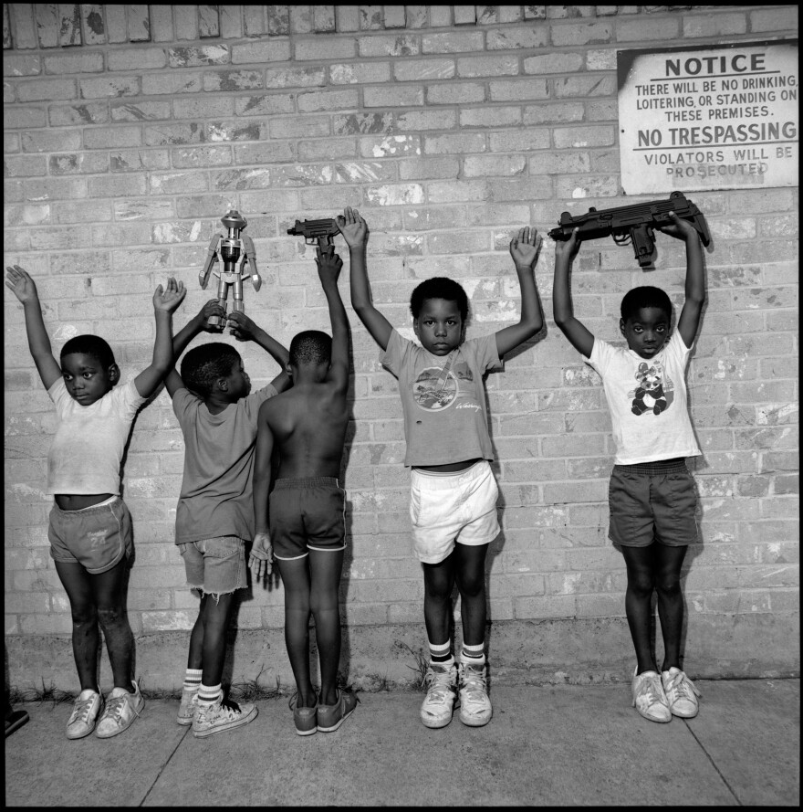 Children playing gangsters. South Dallas, 1988.