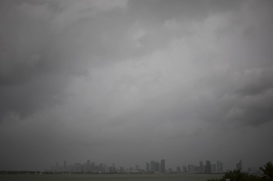 Hurricane Irma approaches the Miami skyline seen on Saturday morning.