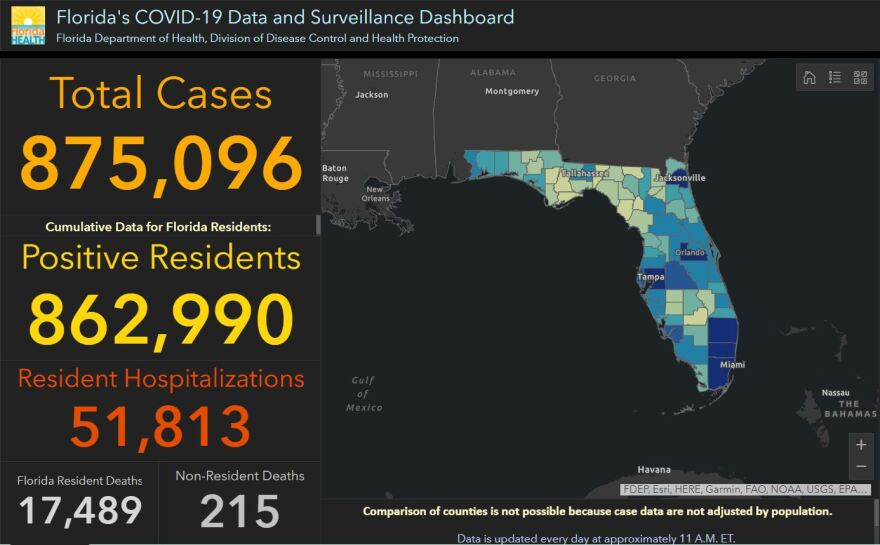 Screenshot of state's Coronavirus dashboard for 11-14-20