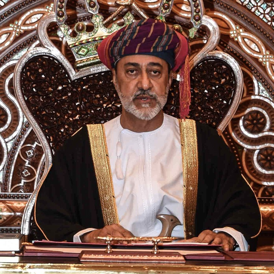 Oman new sultan, Haitham bin Tariq Al Said, speaks during his swearing-in ceremony Saturday.