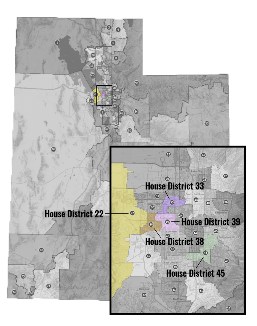 An illustration map of Utah house district.