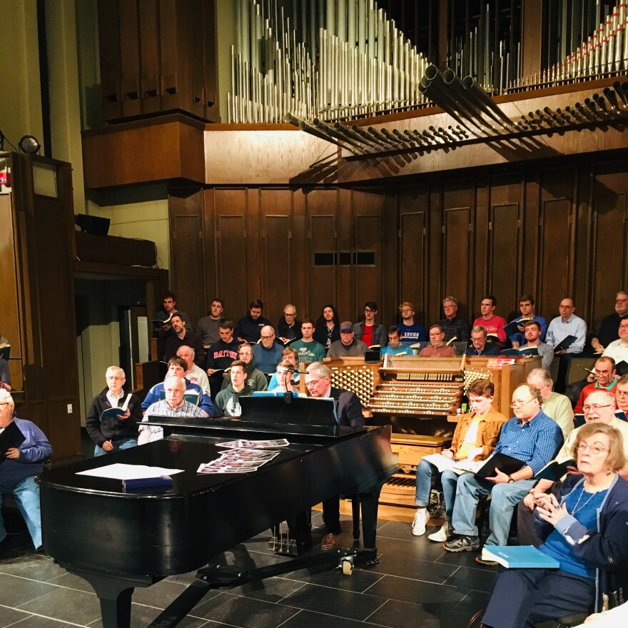 Alan Kimbrough, seated at the piano, is the Bach Society of Dayton's accompanist. He's been performing Bach in public for over forty years now, but St. Matthew Passion still represents risk and reward for him. He notes that some performances use three dif