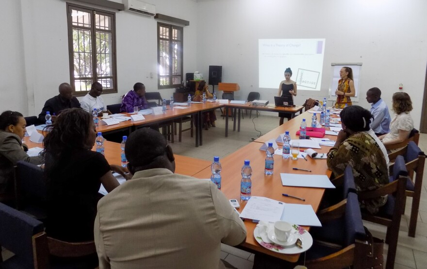 "Carly Tubbs attends a meeting about the ""Healing Classrooms"" project for kids at risk in the Democratic Republic of Congo."