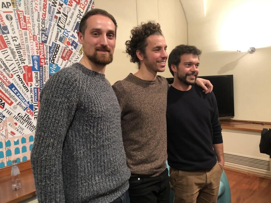 Roberto Marozzi (from left), Mattia Santori and Andrea Gareffa are three of the original Sardines founders in Bologna.