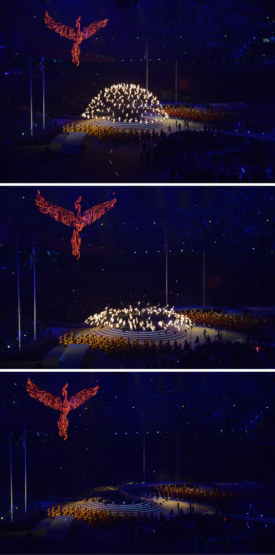 Three photos show the Olympic flame slowly extinguishing at London's Olympic Stadium, as the London 2012 Games come to an end. The next Summer Olympics will be in Rio de Janeiro, Brazil.