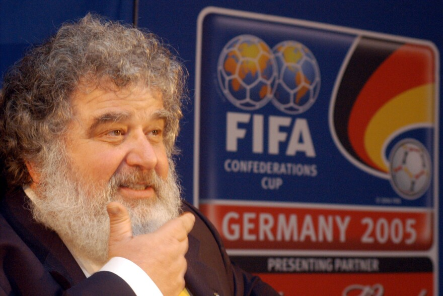"""Chuck Blazer, then-CONCACAF general secretary, attends a news conference in Frankfurt, Germany, on Feb. 14, 2005. FIFA banned him today for life over """"various acts of misconduct."""""""